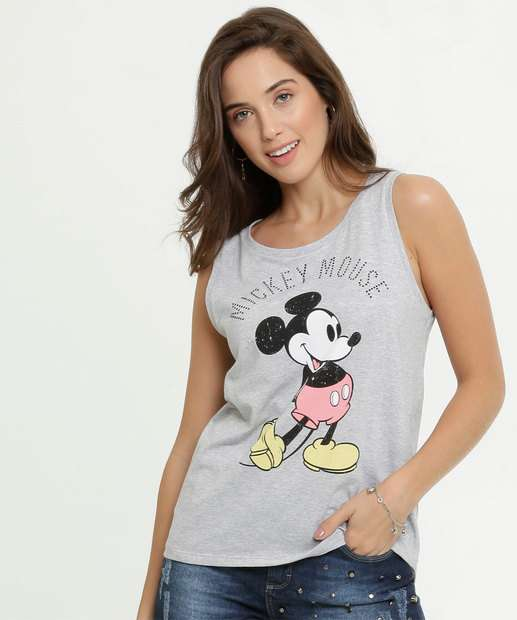 Image_Blusa Feminina Estampa Frontal Mickey Sem Manga Disney