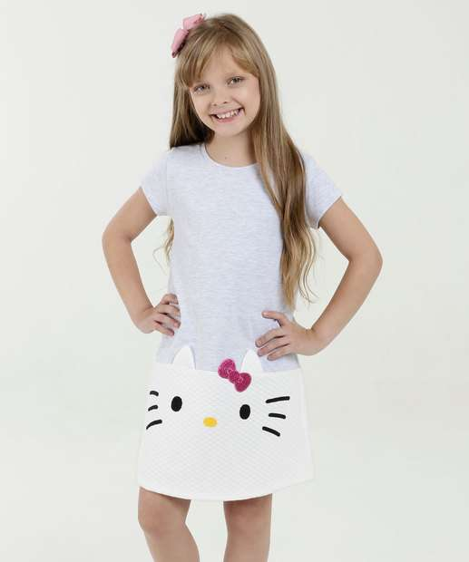 Image_Vestido Infantil Recorte Hello Kitty Manga Curta