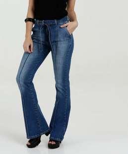 Calça Feminina Jeans Stretch Flare Clochard Marisa