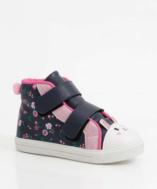 Image_Tênis Infantil Cano Alto Estampa Floral Velcro Marisa