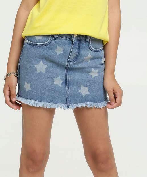 Image_Saia Juvenil Jeans Estampa Estrelas Marisa