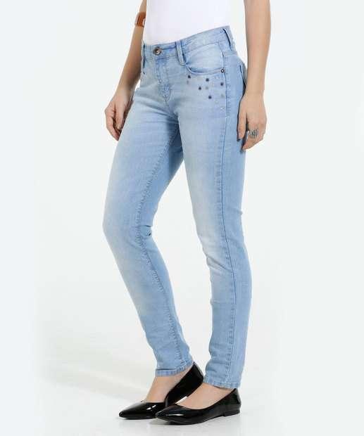 Image_Calça Feminina Skinny Jeans Stretch Bordado Marisa