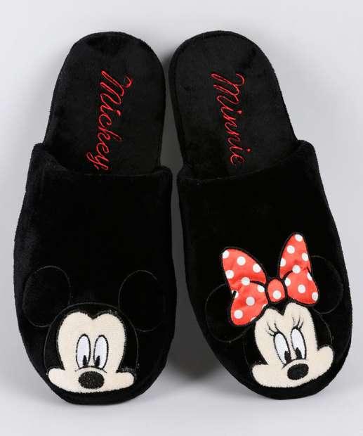 Image_Pantufa Feminina Plush Bordado Mickey E Minnie Disney