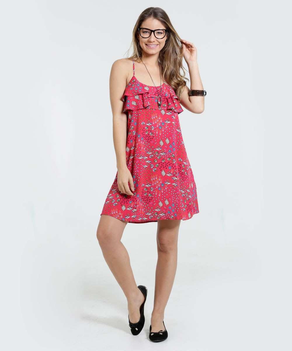 697602a072 Vestido Feminino Floral Babado Alças Finas Marisa