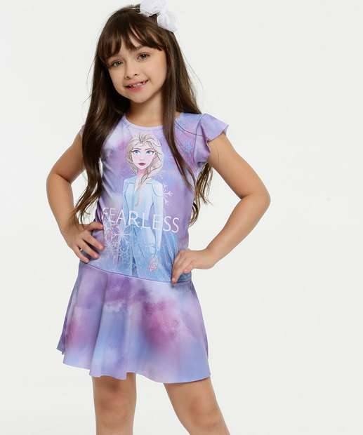 Image_Vestido Infantil Estampa Frozen Manga Curta Disney