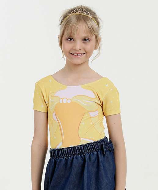Image_Body Infantil Estampa Princesa Bela Manga Curta Disney