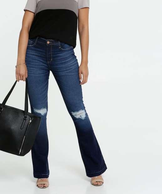 Image_Calça Jeans Destroyed Flare Feminina Marisa