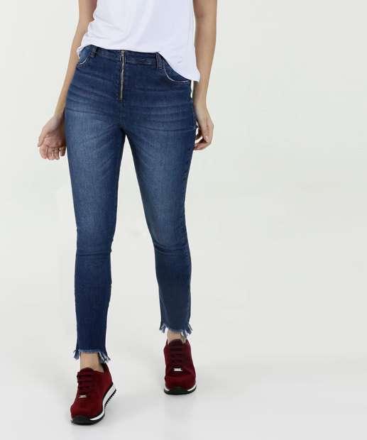 Image_Calça Feminina Jeans Stretch Cigarrete Barra Desfiada Marisa