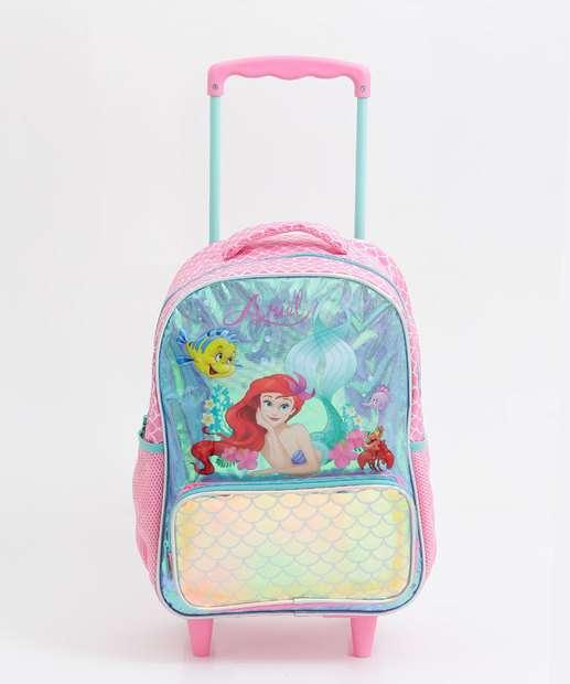 Image_Mochila Escolar Rodinha Infantil Pequena Sereia Disney