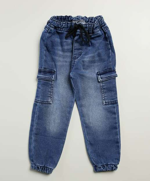 Image_Calça Infantil Jogger Jeans Bolsos Tam 1 a 3