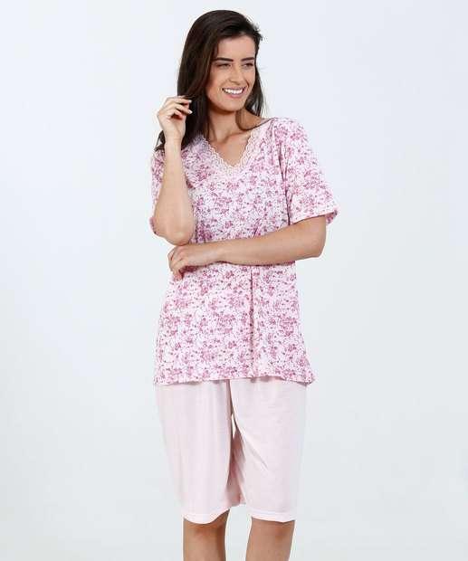 Image_ Pijama Feminino Estampa Flores Manga Curta Marisa