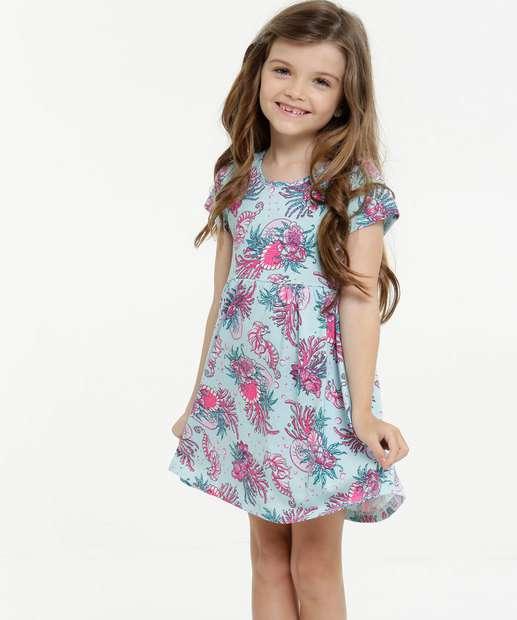 Image_ Vestido Infantil Manga Curta Estampa Floral Tam 4 a 10