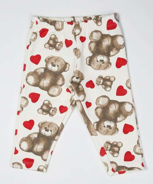 Image_Calça Infantil Legging Estampa Urso e Coração