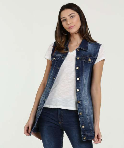 Image_Colete Feminino Jeans Stretch Alongado Disparate