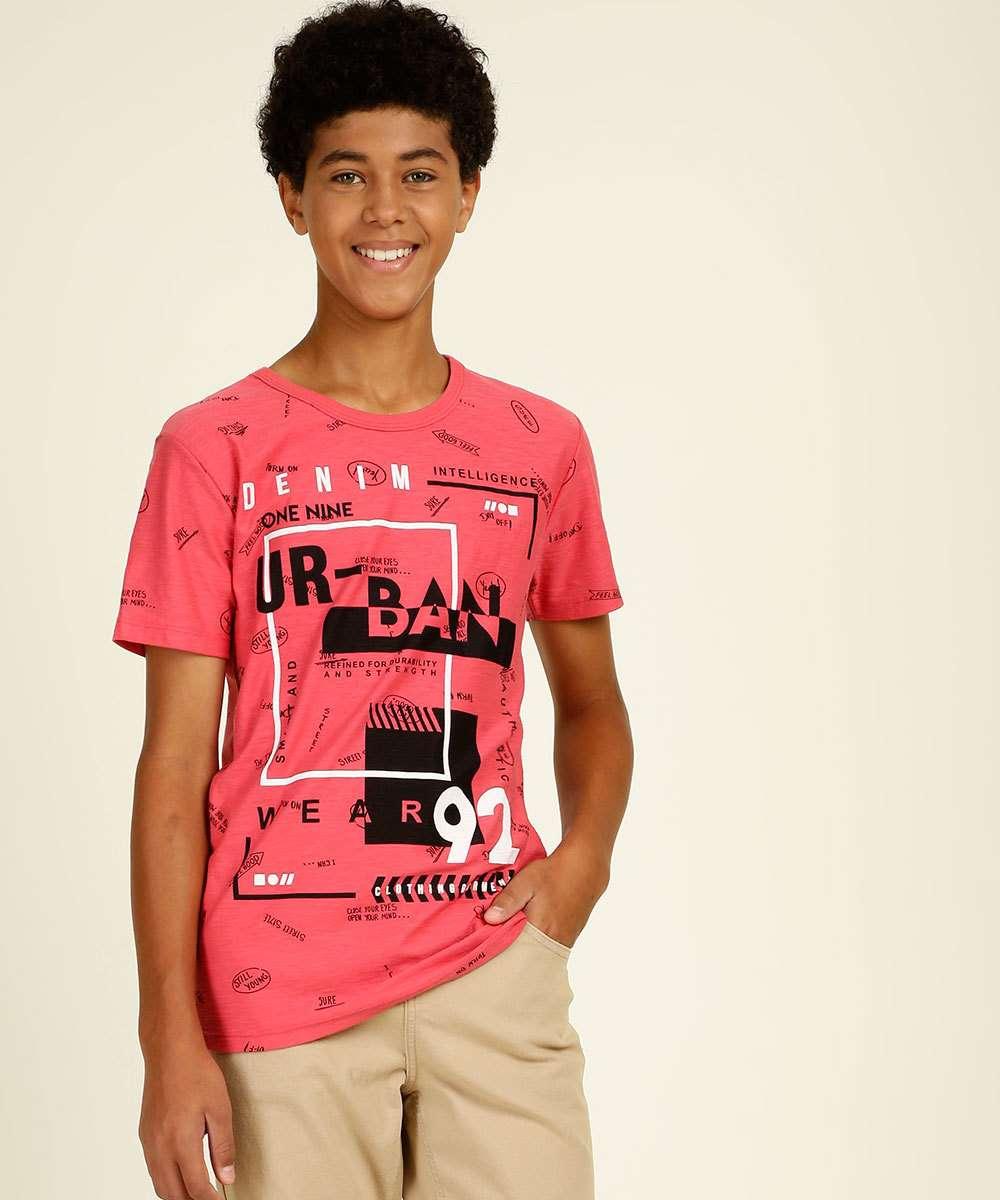 Camiseta Juvenil Manga Curta Estampada Tam 10 a 16