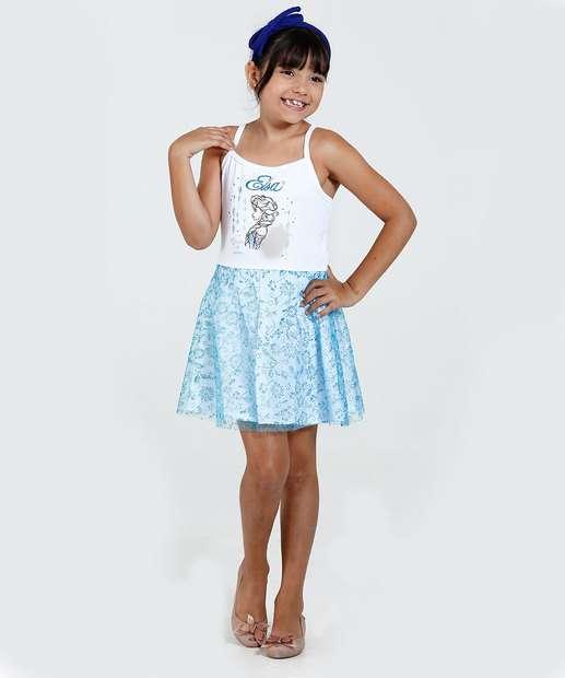 Image_Vestido Infantil Tule Glitter Frozen Elsa Disney