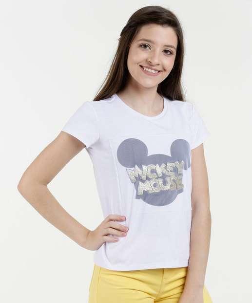 Image_Blusa Juvenil Tela Estampa Mickey Manga Curta Disney