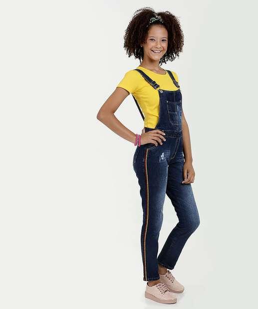 bcb76cadf Macacão Juvenil Jeans Listras Marisa