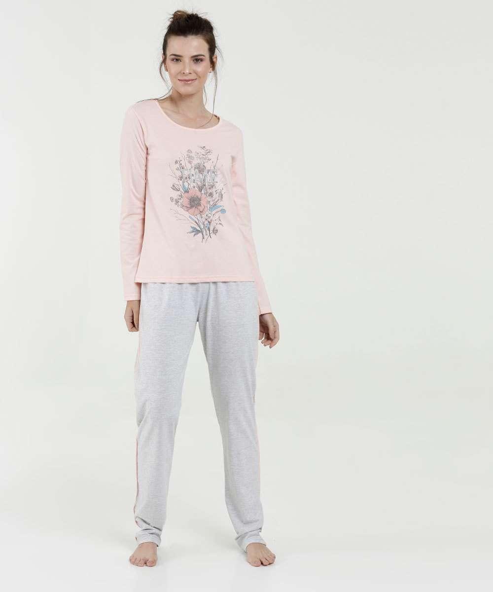 Pijama Feminino Estampa Frontal Manga Longa Marisa