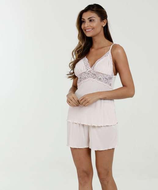 Image_Pijama Feminino Short Doll Renda Alças Finas Marisa