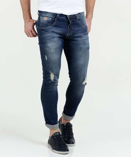 Image_Calça Masculina Jeans Puídos Skinny Cut Biotipo