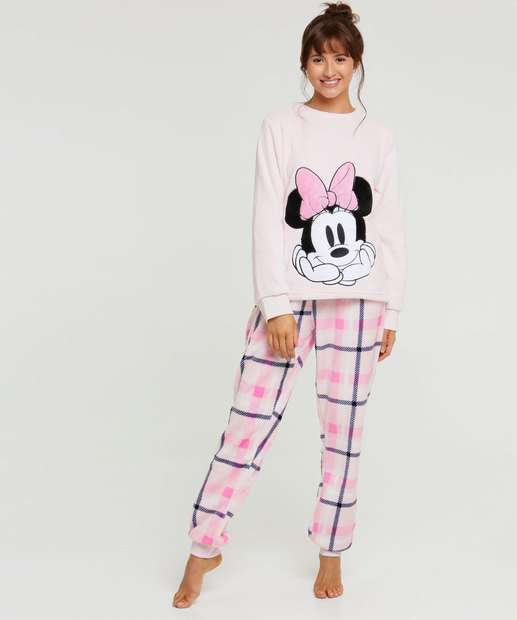 Image_Pijama Feminino Plush Estampa Minnie Disney