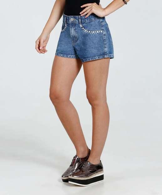 Image_Short Feminino Jeans Perólas Sintéticas Marisa