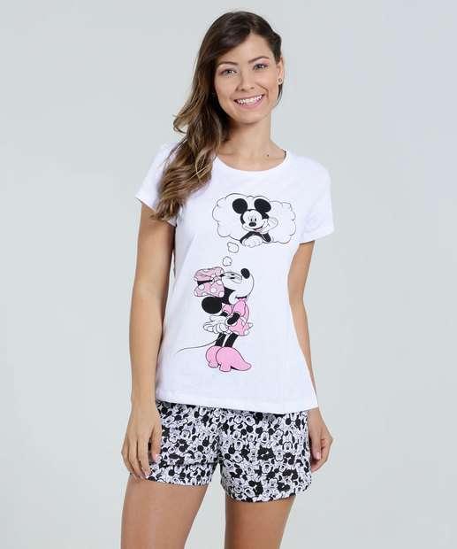 Image_Pijama Feminino Short Doll Estampado Michey e Minnie Disney