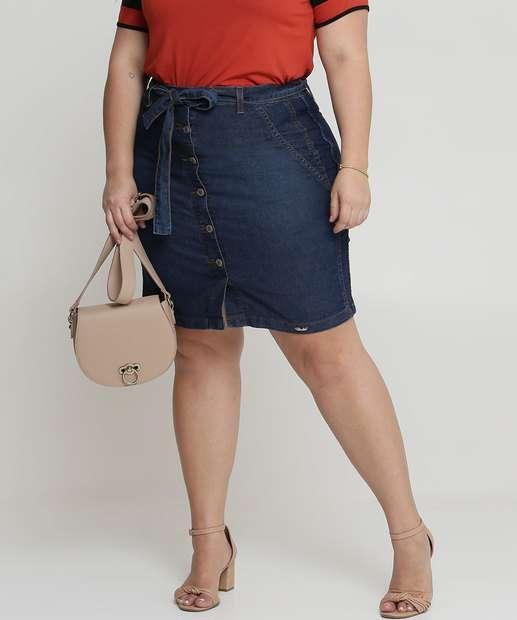 Image_Saia Feminina Jeans Tiras Amarração Plus Size