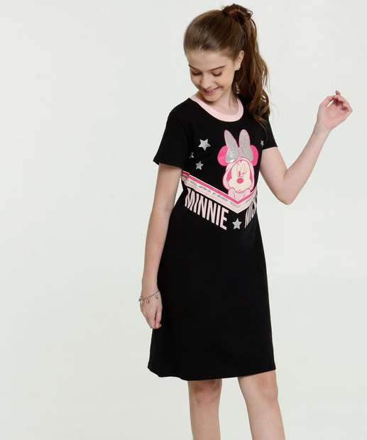 Image_Vestido Juvenil Estampa Minnie Manga Curta Disney