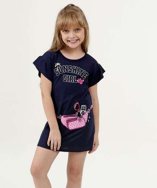 Image_Vestido Infantil Estampa Frontal Manga Curta