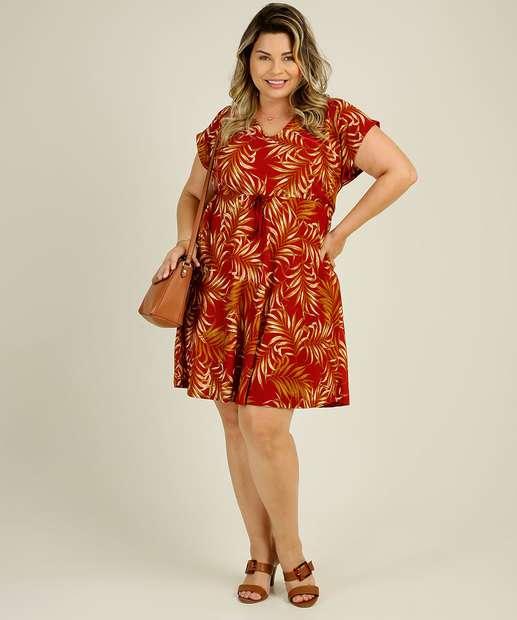 Image_Vestido Plus Size Feminino Estampa Folhas