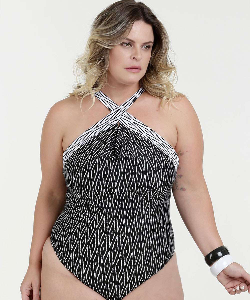 16624a20e586 Maiô Feminino Estampado High Neck Plus Size Marisa | Marisa
