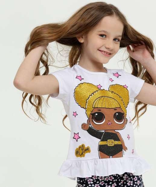 Image_Blusa Infantil Estampa Boneca Glitter Manga Curta Lol