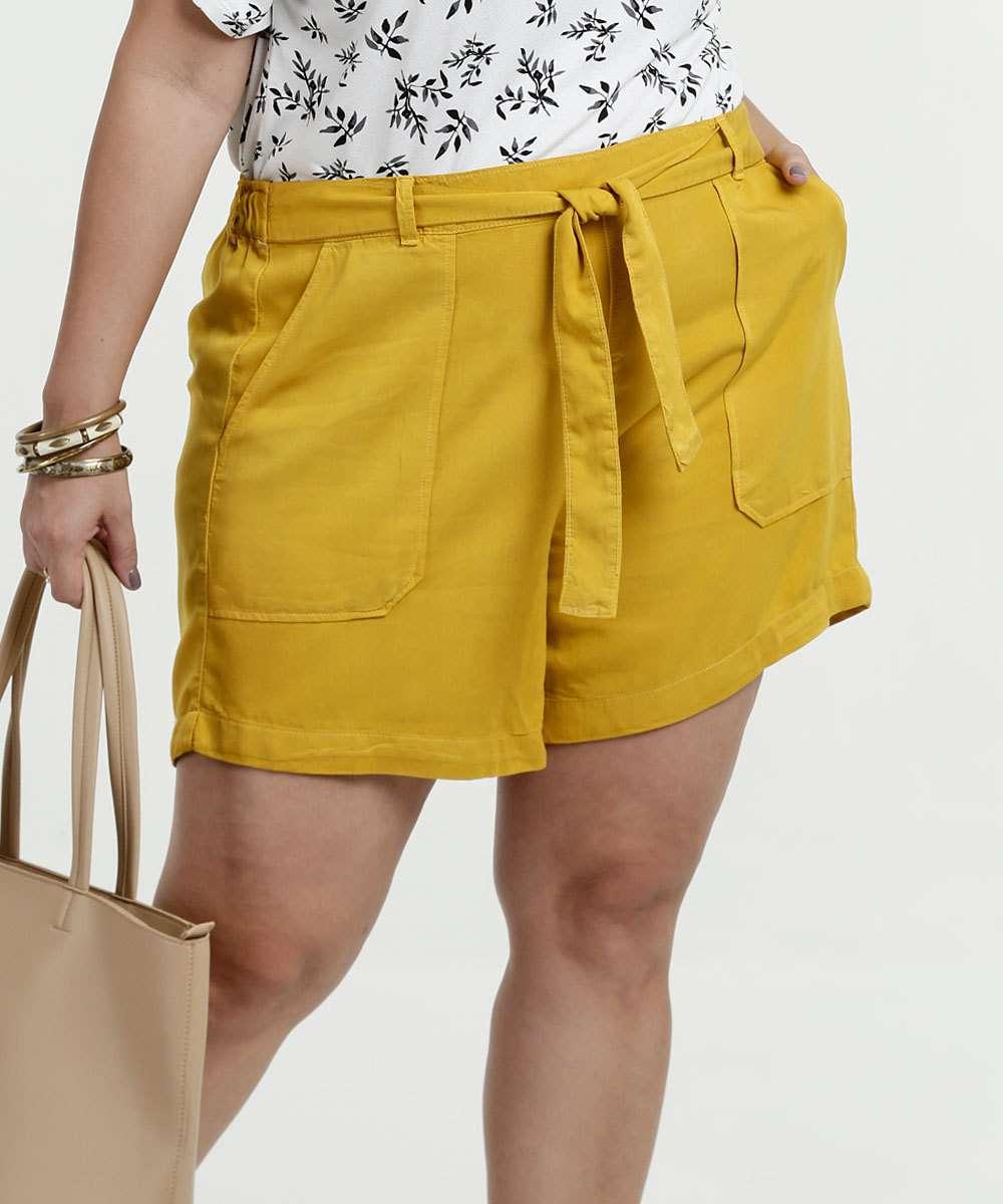f785559c2 Short Feminino Piquet Amarração Plus Size Marisa | Menor preço com cupom