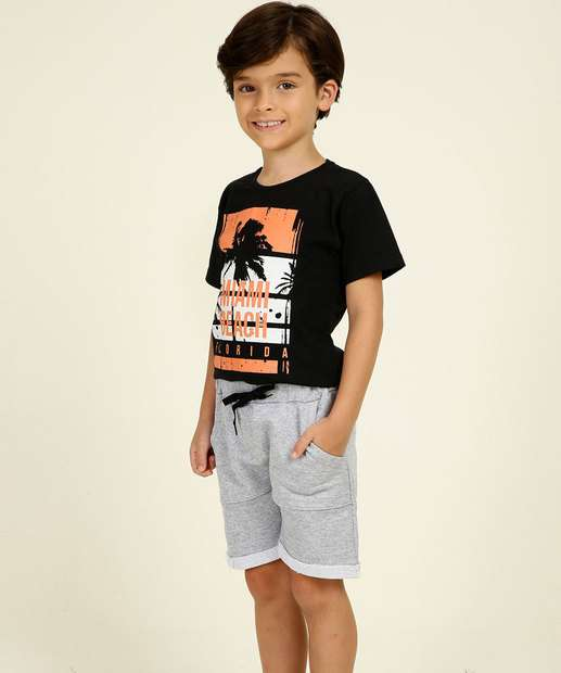 Image_Conjunto Infantil Manga Curta Estampa Frontal Tam 4 a 10