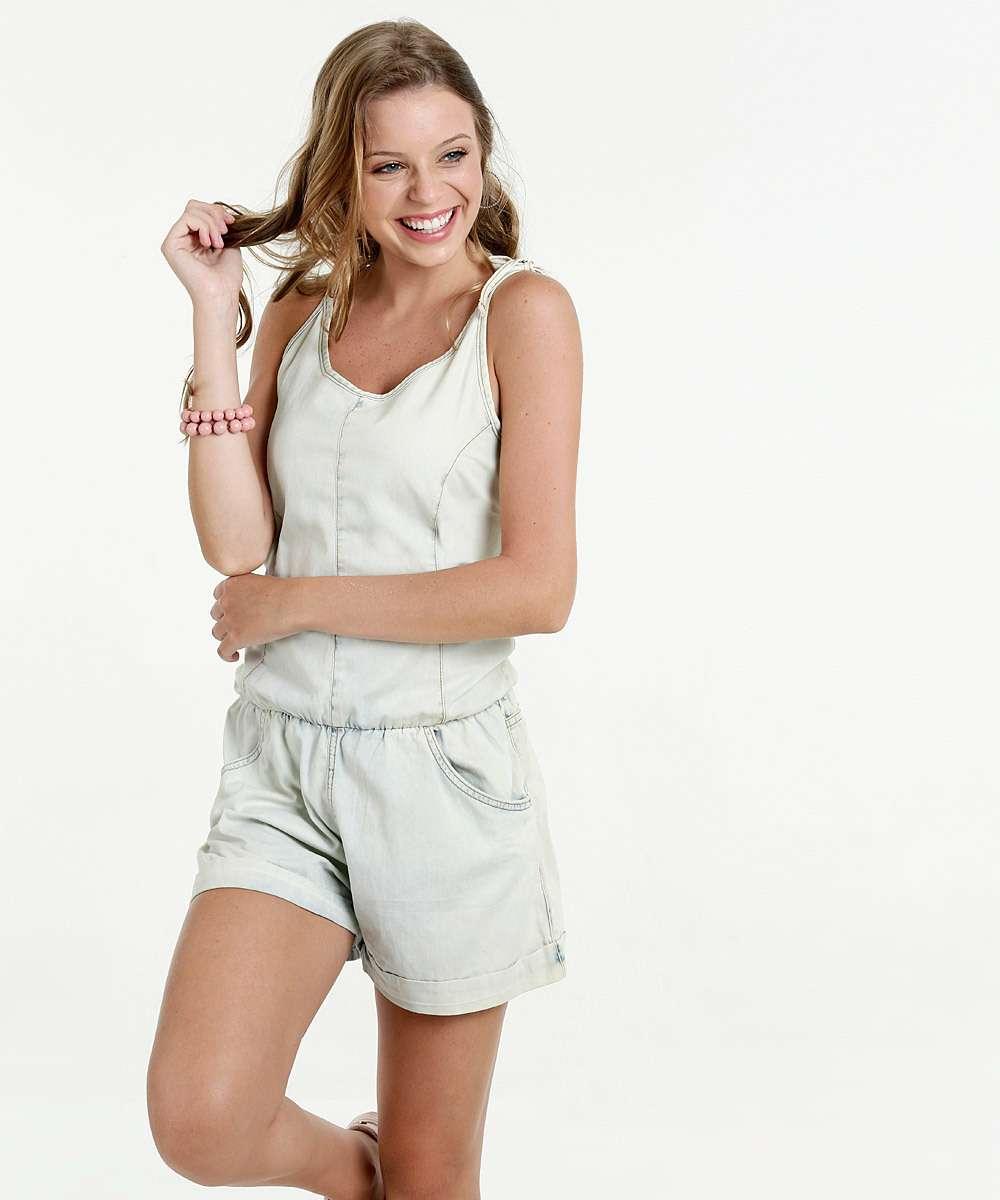Macaquinho Feminino Jeans Alças Finas Razon