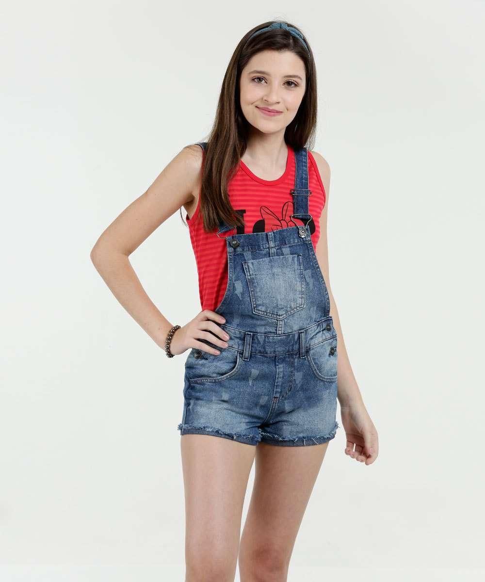 Jardineira Juvenil Jeans Puídos Marisa