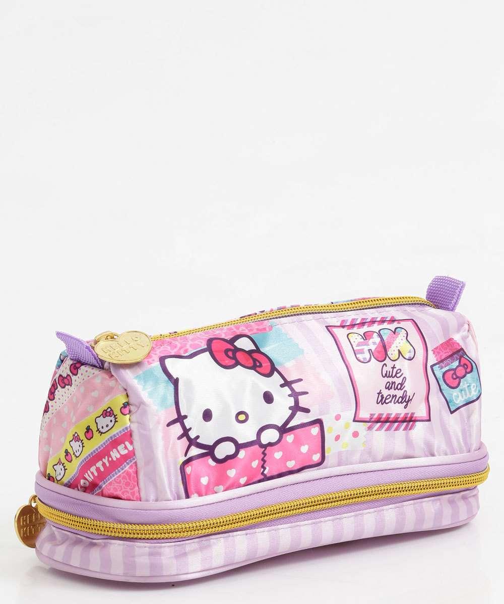 Estojo Escolar Infantil Estampa Hello Kitty Xeryus