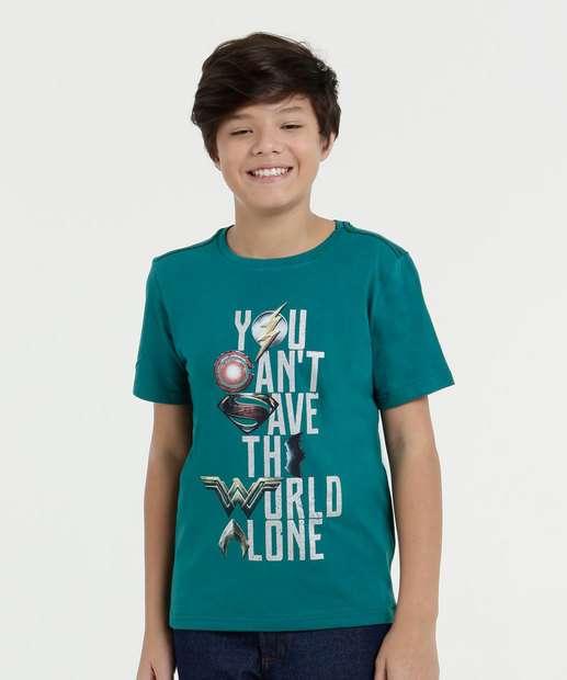 Image_Camiseta Infantil Estampada Manga Curta Liga da Justiça