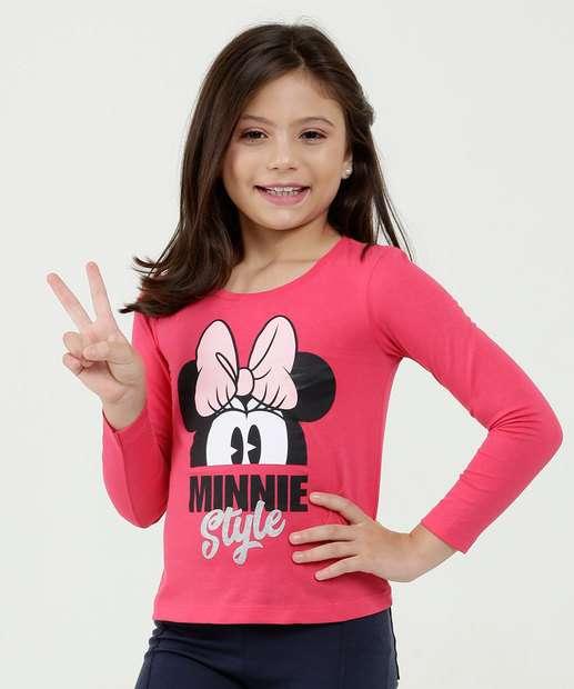5477eec0b Blusa Infantil Estampa Minnie Manga Longa Disney