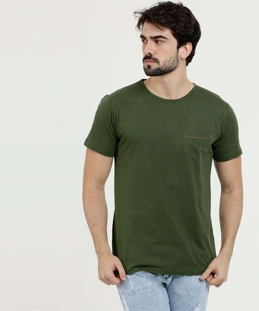 Image_Camiseta Masculina Bolso Manga Curta