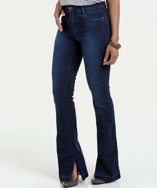 Image_Calça Feminina Jeans Boot Cut Fenda Sawary
