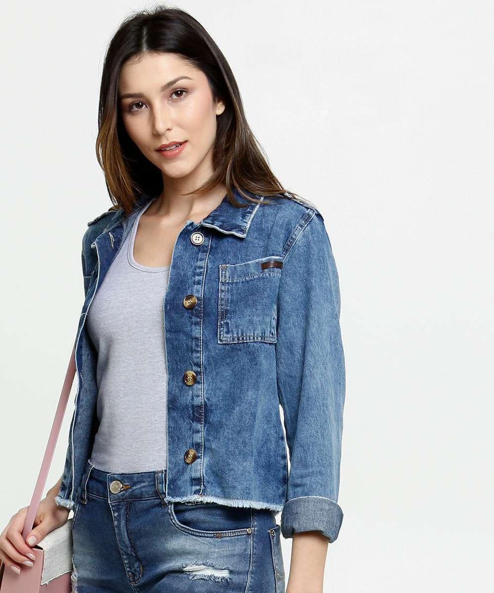Jaqueta Feminina Jeans Barra Desfiada Razon