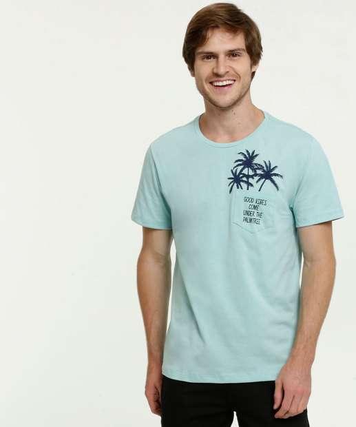 Image_Camiseta Masculina Bolso Estampa Coqueiro Manga Curta
