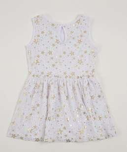 Vestido Infantil Estrelas Foil Sem Manga Marisa