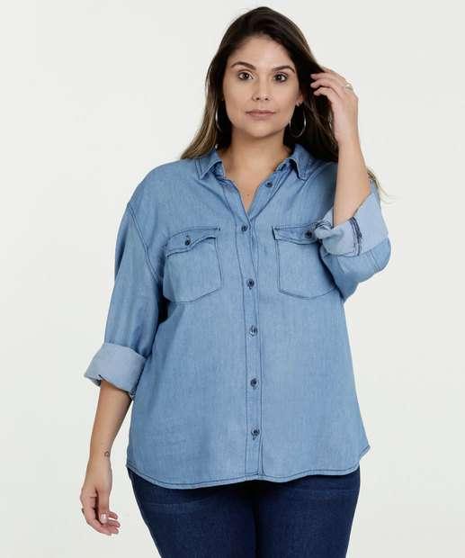 a49df9130 Camisa Feminina Jeans Plus Size Manga Longa Razon