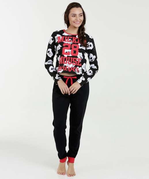 Image_Pijama Feminino Moletinho Estampa Mickey Disney