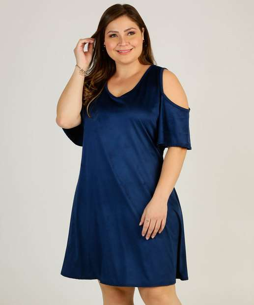 Image_Vestido Plus Size Feminino Suede Open Shoulder Marisa
