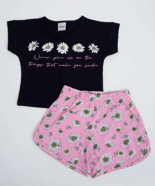 Image_Conjunto Infantil Manga Curta Estampa Floral Tam 1 a 3